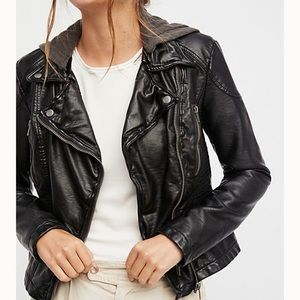 Free People Vegan Leather Hooded Jacket size 4